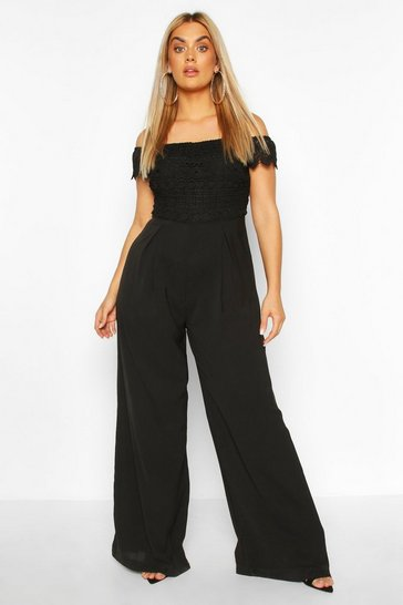 Black Plus Crochet Lace Bardot Jumpsuit