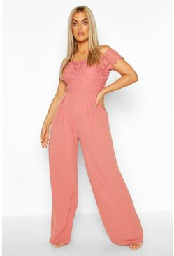 Mauve Plus Crochet Lace Bardot Jumpsuit