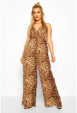 Plus Leopard Print Cami Jumpsuit, Brown