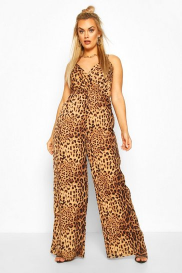 Brown Plus Leopard Print Cami Jumpsuit