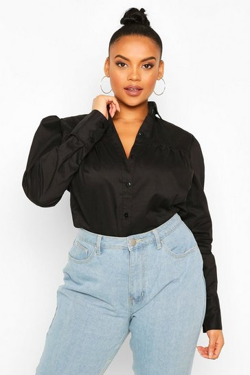 Black Plus Crochet Lace Insert Poplin Shirt