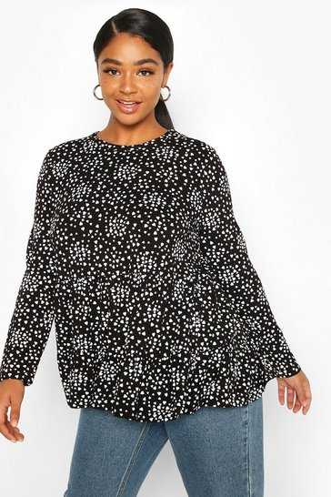 Black Plus Heart Print Tiered Smock Top