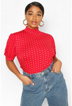 Red Plus Heart Print Puff Sleeve Ruched Collar Top