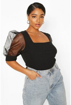 Black Plus Soft Rib Organza Mesh Puff Sleeve Top