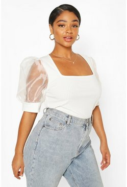 Ivory Plus Soft Rib Organza Mesh Puff Sleeve Top