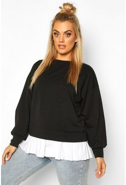 Black Plus Sweat with Contrast Cotton Ruffle
