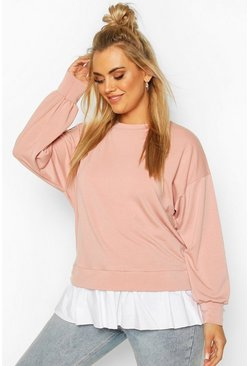Plus Sweat with Contrast Cotton Ruffle , Blush