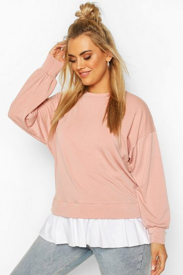 Blush Plus Sweat with Contrast Cotton Ruffle