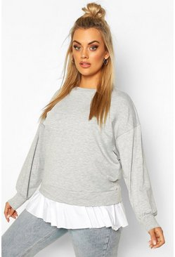 Grey marl Plus Sweat with Contrast Cotton Ruffle