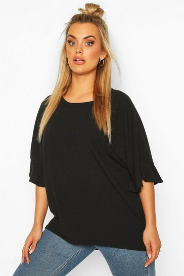 Black Plus Frill Cuff Soft Rib Tunic Top