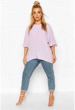Lilac Plus Frill Cuff Soft Rib Tunic Top
