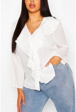 Ivory Plus Ruffle Front Blouse
