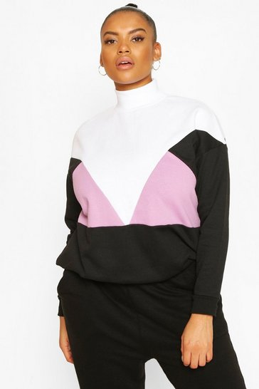 Lilac Plus Colour Block Crew Neck Sweat