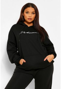 Black Plus Woman Script Embroided Slogan Hoody