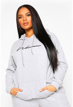 Grey marl Plus Woman Script Embroidered Slogan Hoody