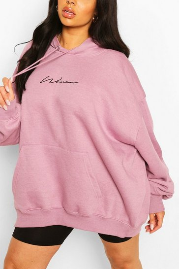 Lilac Plus Woman Script Embroided Slogan Hoody