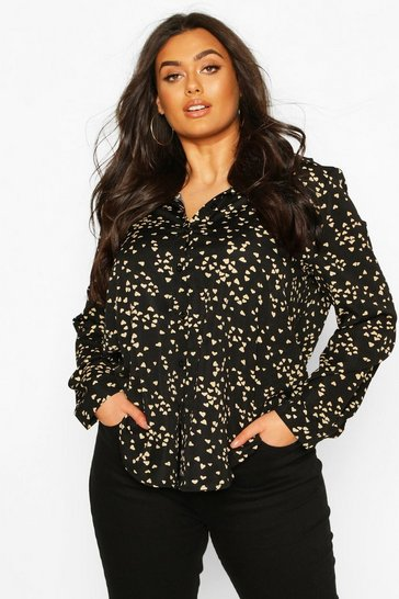 Black Plus Heart Print Oversized Shirt
