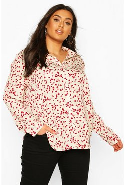 Ivory Plus Heart Print Oversized Shirt