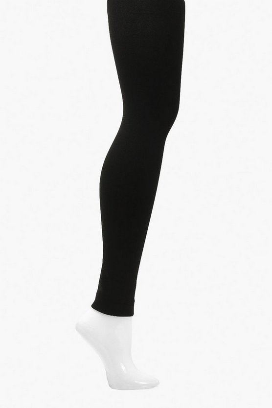 Black Plus Thermal 300 Denier Footless Tights