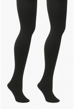 Plus 2 Pack 300 Denier Thermal Tights, Black