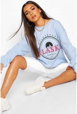 Light blue Petite Neon Slogan Oversized Sweat