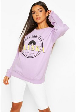 Petite Neon Slogan Oversized Sweat, Lilac