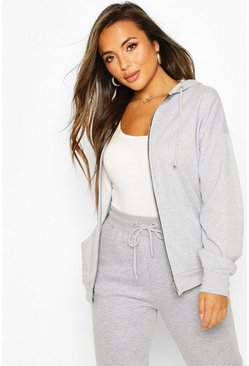 Petite Zip Up Basic Hoodie, Grey