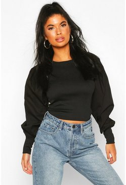 Black Petite Ribbed Body Puff Sleeve Crop Top