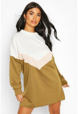 Petite Colour Block Chevron Sweat Dress, Khaki