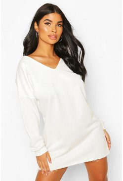 Ivory Petite Oversize V Neck Sweat Dress