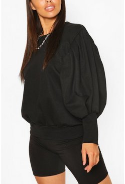 Petite Volume Sleeve Sweat Shirt, Black