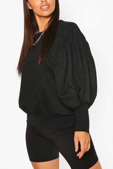 Black Petite Volume Sleeve Sweat Shirt