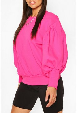 Petite Volume Sleeve Sweat Shirt, Bright pink