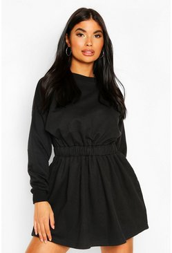 Black Petite Ruched Waist Sweat Dress