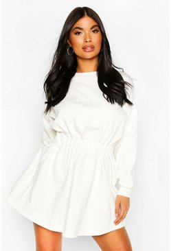 Petite Ruched Waist Sweat Dress, Ivory