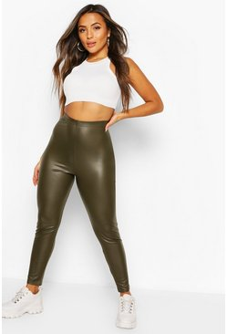 Khaki Petite Matte Leather Look Leggings
