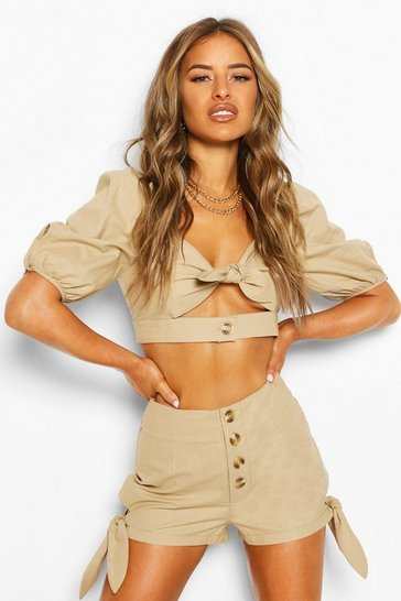 Stone Petite Linen Look Tie Detail Crop Top