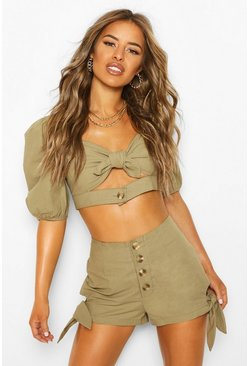 Khaki Petite Tie Side Military Shorts
