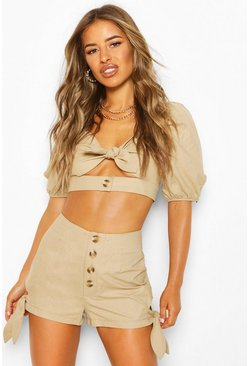 Stone Petite Tie Side Military Shorts