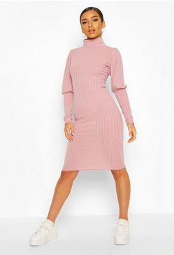Mauve Petite Volume Sleeve Roll Neck Dress