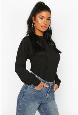 Petite Ribbed Long Sleeve Top, Black