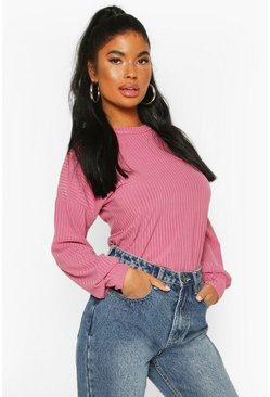 Petite Ribbed Long Sleeve Top, Pink