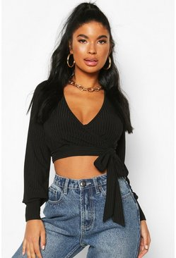 Black Petite Ribbed Wrap Crop Top