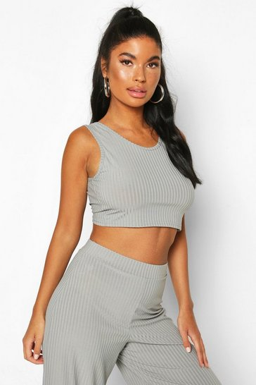 Slate Petite Ribbed Tie Back Crop Top