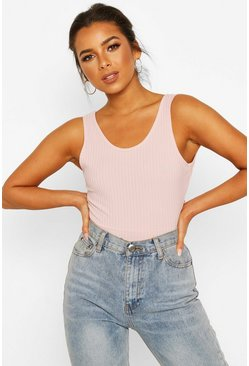 Rose Petite Ribbed Tie Back Bodysuit