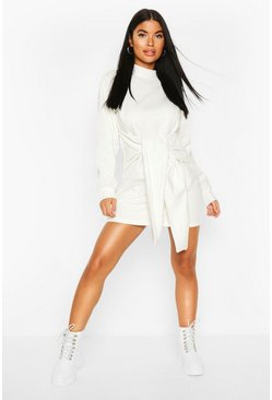 Petite Tie Front Sweat Dress, Ivory