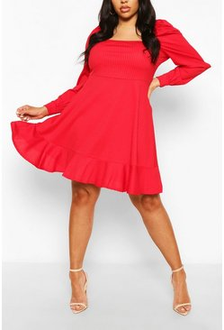 Red Plus Jumbo Rib Puff Sleeve Skater Dress