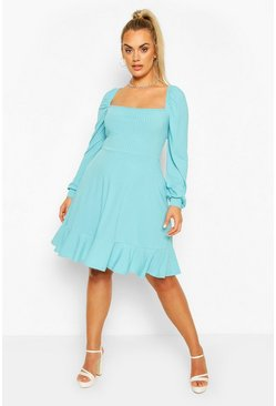 Turquoise Plus Jumbo Rib Puff Sleeve Skater Dress