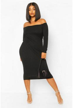 Plus Jumbo Rib Of The Shoulder Midi Dress, Black