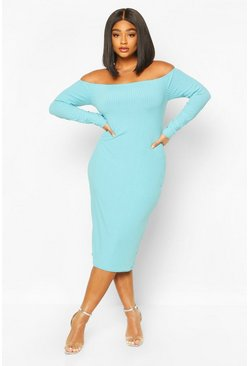 Turquoise Plus Jumbo Rib Of The Shoulder Midi Dress